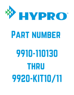 Hypro Parts 9910-110130 to 9920-KIT10/11