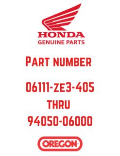 Honda Genuine Parts 06111-ZE3-405 to 94050-06000